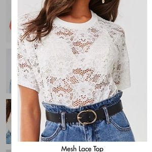 Forever 21 White Mesh Lace Top || S || A51